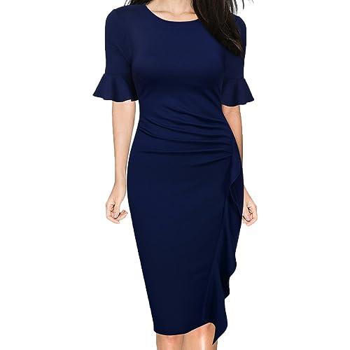 7d394e2d483e WOOSUNZE Women's Business Retro Ruffles Bell Sleeve Slim Cocktail Pencil  Dress