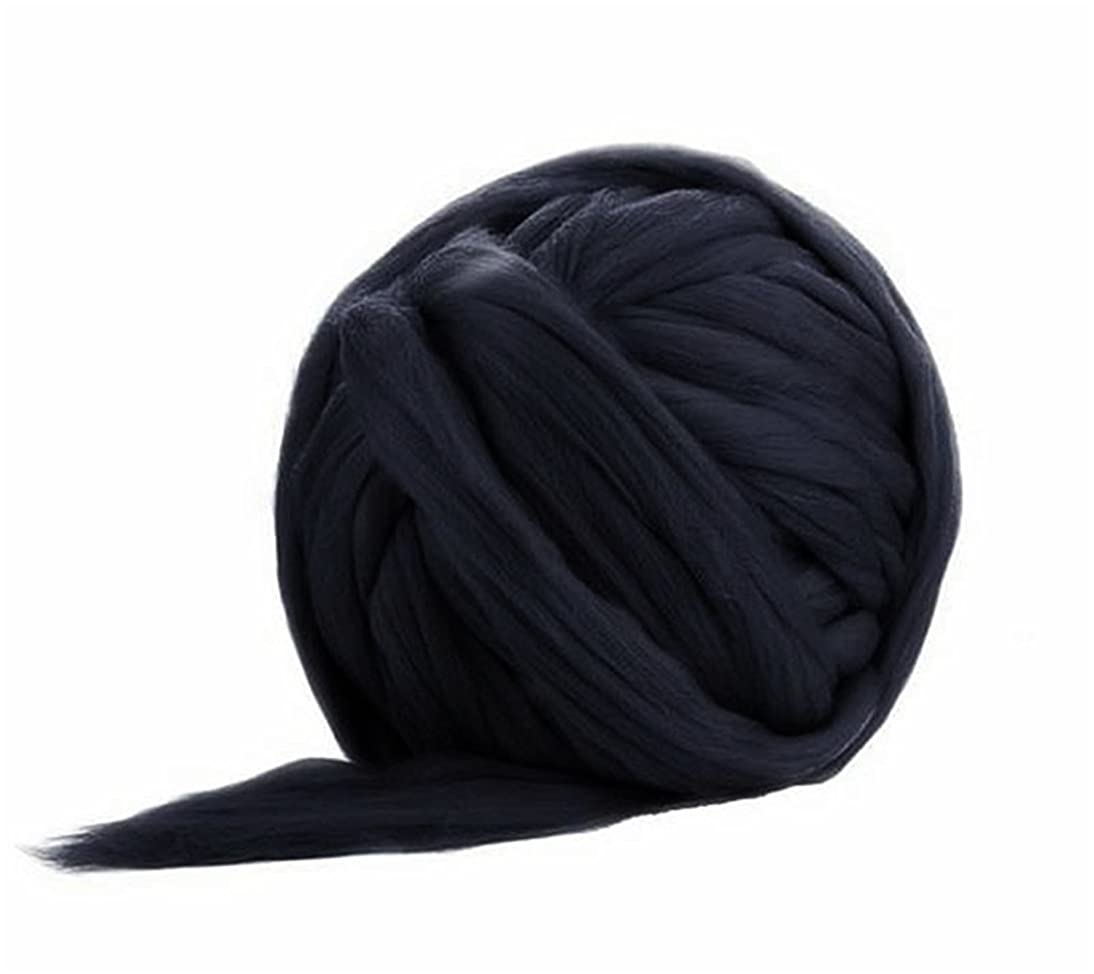 Giant Wool Yarn Chunky Arm Knitting Super Soft Wool Yarn Bulky Wool Roving (250g/0.55 lbs, Black)
