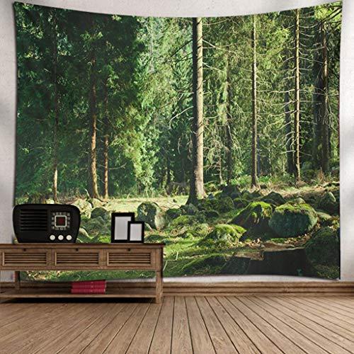 Scrolor Landschaftsmalerei Wandteppich für Hotel Hauptwohnzimmer Wallhanging Dekoration Forest Green Nature(Mehrfarbig 1,150X200cm)