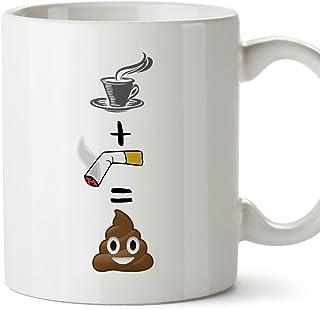 Tasse pour le petit-déjeuner originale et amusante. Café/clope/toilette Tasses avec un..