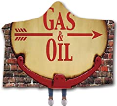 C COABALLA Man Cave Decor Economic Wearable Hooded Blanket,A Rusty Old Retro Arrow Sign with Text Gas and Oil Fuel Station for Car,80