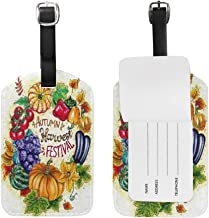 ZZAEO Autumn Leaves Harvest Festival Vegetables Cute Luggage Tags PU Leather Double Sided Printing Travel Bag Suitcase Identifiers for Women Girls Baggage - 1 Piece