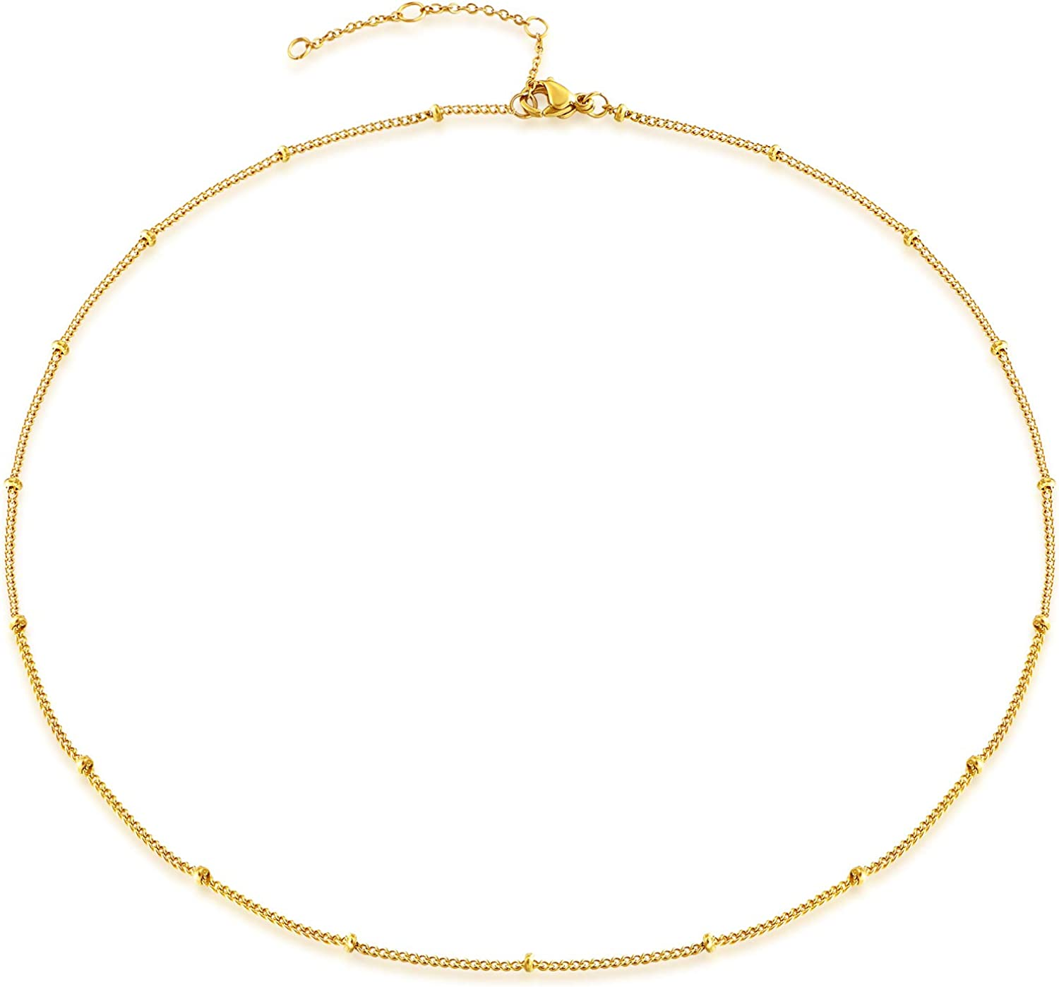 Estendly Dainty Gold Layered Bar Neckalce Moon Pendant Lariat Y Necklace 14K Gold Simple Necklace for Women