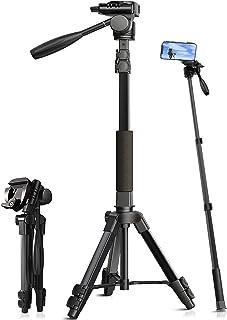 三脚 スマホ ビデオカメラ三脚 一脚可変式 ビデオカメラ 一眼レフカメラ ミニ三脚 3WAY雲台 360回転 収納袋付き 軽量 コンパクト(進化版)