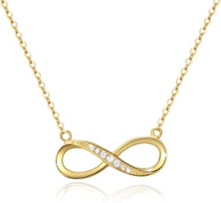 OneSight Infinity Pendant Necklace for Women, 925 Sterling Silver Love Heart Necklace Jewelry Gold Plated