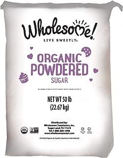 Wholesome Fair Trade Organic Powdered Sugar, Naturally Flavored Real Sugar, Non GMO & Gluten Free, 50 Pound (Pack of 1)