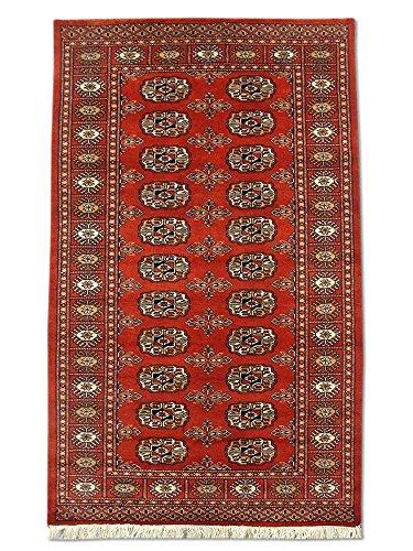Pak Persian Rugs Tapis Noué Main Boukhara, Bourgogne/Rouge, Laine, Small, 93 X 149 cm