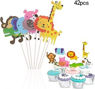 Efivs Arts 42 Pcs Wild Animal Zoo Park Cake Cupcake Topper for Baby Shower Kids Birthday Party Decorations Lion Hippo Monkey Elephant Zebra Giraffe Crocodile