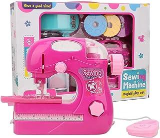 Máquina de coser simulación de juguete, rosa roja pequeño portátil hogar manual eléctrico DIY fabricante de ropa juguetes para niños