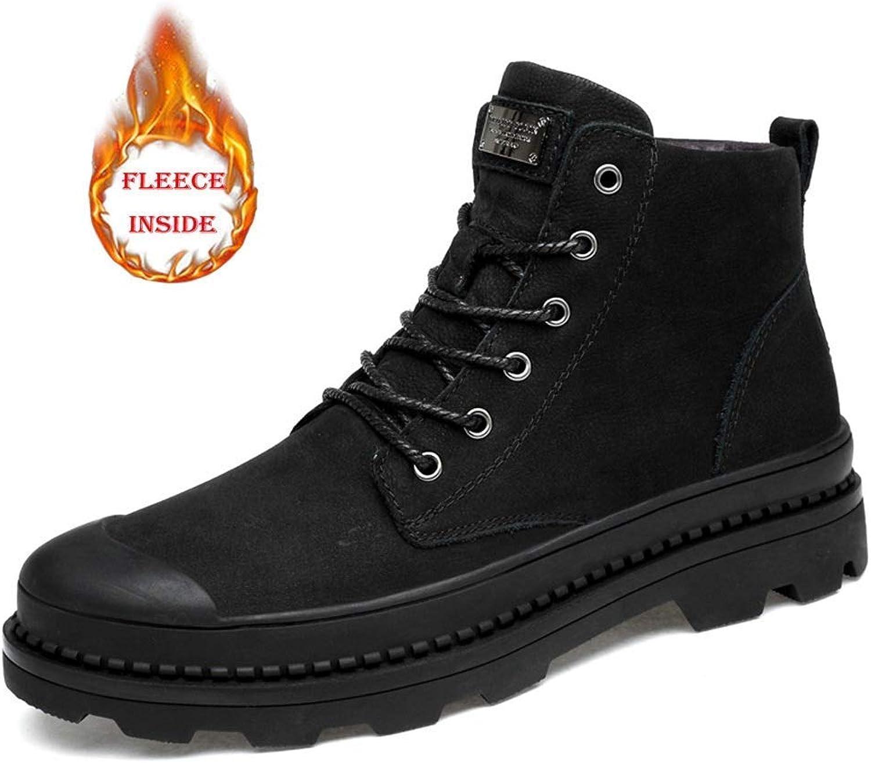 Fuxitogo 2018 Mans Ankle stövlar stövlar stövlar High Top Comfortable Simple Cotton Warm Casual Work skor (Konventionellt valfritt) (färg  Wark svart, storlek  45 EU) (färg  Wark svart, Storlek  47 EU)  upp till 50% rabatt