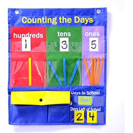 Amazon.com : Counting Caddie And Place Value Pocket Chart For Classroom  Home School Kindergarten/Morning Meetings & Math Lessons : Office Products