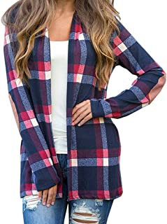 Womens Plaid Cardigans Long Sleeve Elbow Patch Draped Open Front Cardigan Shirt Jacket Coat Outerwear