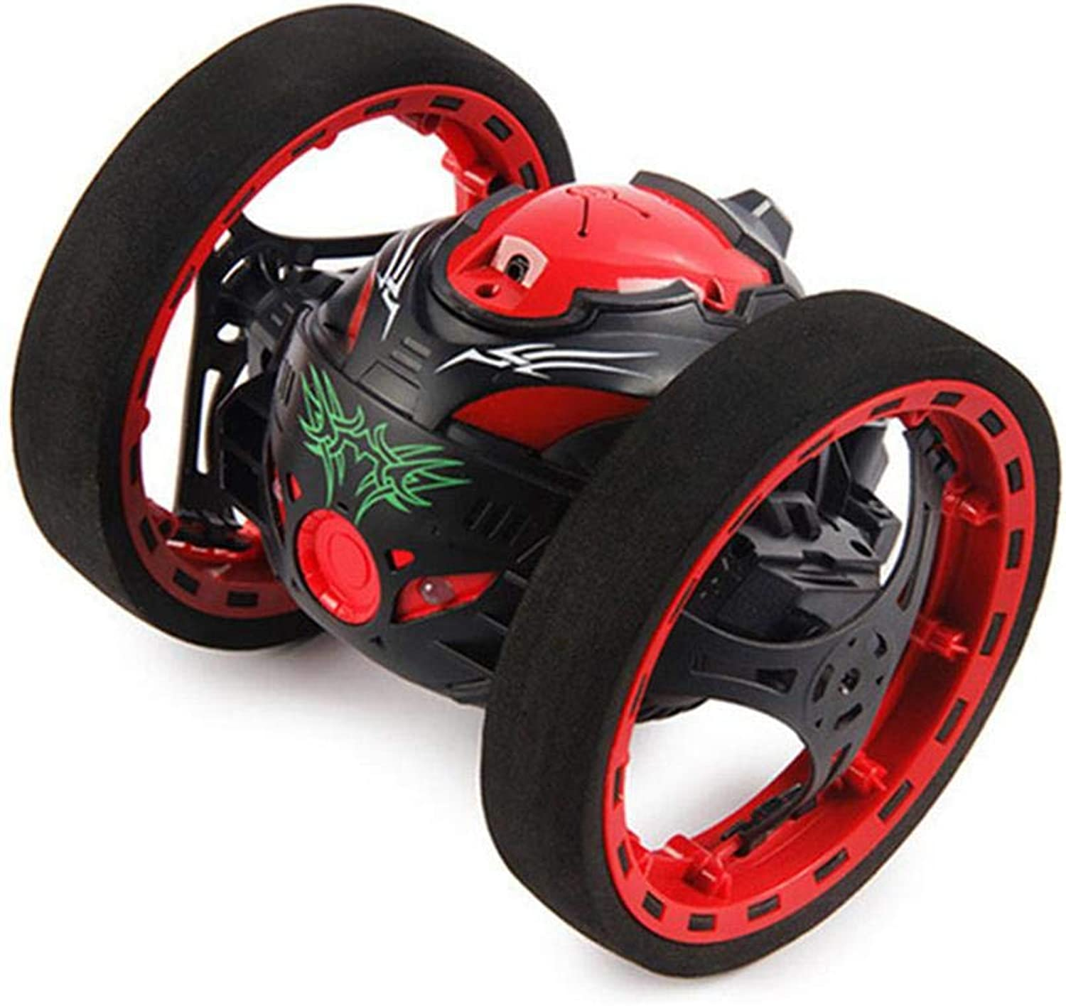 AOLVO Leaping Dragon 2.4G RC Bounce Car with LED Night Lights Car Kids Toys Birthday New Gifts for Boys Girls (Black White)