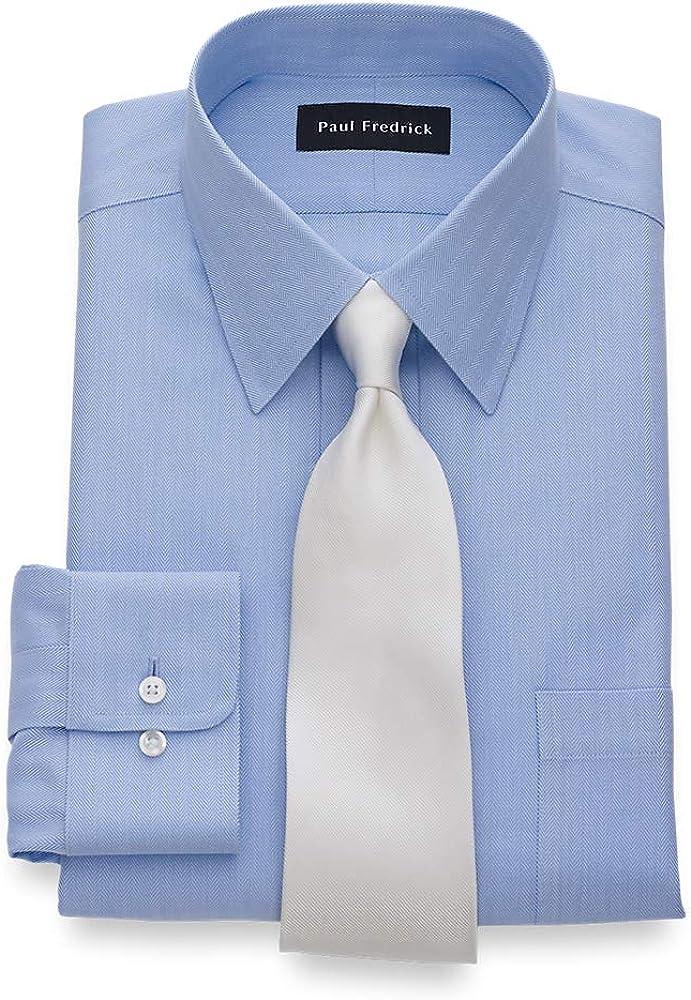 Paul Fredrick Men's Tailored Fit Non-Iron Solid Color Herringbone Dress Shirt
