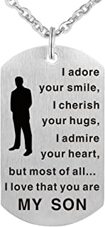 I Adore Your Smile I Admire Your Heart I Love That You are My Son - Meaningful Son Necklace Gift