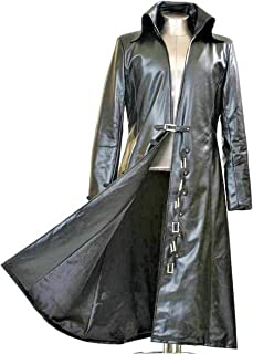 Gothic_Master Black Faux Leather Long Trench Coat