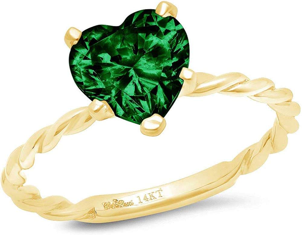 1.9ct Brilliant Heart Cut Solitaire Rope Twisted Knot Flawless Simulated CZ Green Emerald Ideal VVS1 5-Prong Engagement Wedding Bridal Promise Anniversary Designer Ring Solid 14k yellow Gold for Women