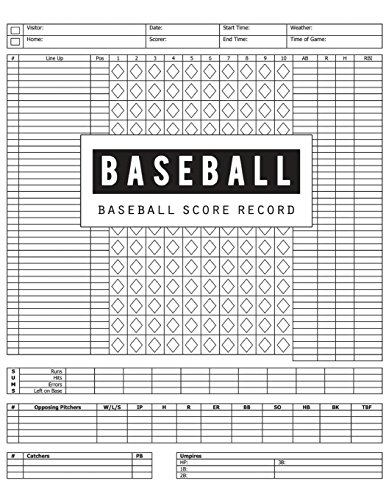 Baseball Score Record: Baseball Game Record Keeper Book, Baseball Score, Baseball score card has many spaces on which to record, Size 8.5 x 11 Inch, 100 Pages