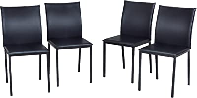 a8932c7615f8 COLIBROX--Set of 4 Dining Chairs PU Leather Armless Metal Legs Home Kitchen  Furniture