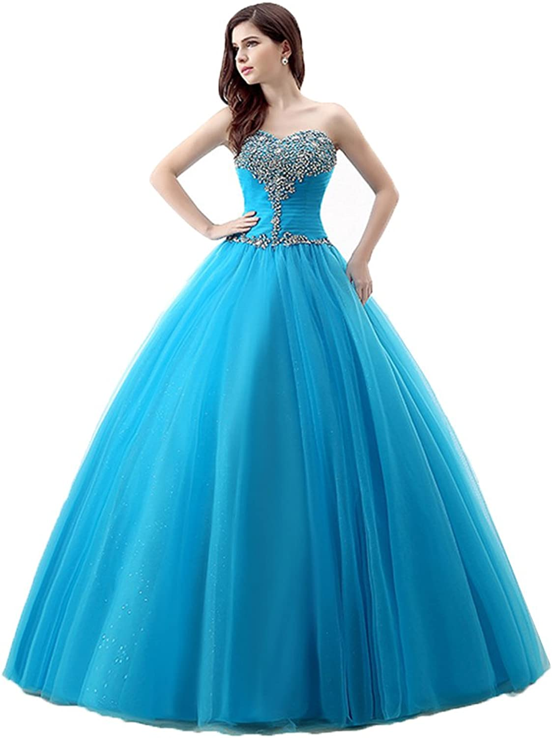 Heloise Women's Quinceanera Dress Tulle Beaded Strapless Ball Gown Lace up Corset Sleeveless Sweet 16 Dress