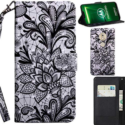 DodoBuy 3D Hülle für Motorola Moto G7 Power, Flip PU Leder Schutzhülle Handy Tasche Brieftasche Wallet Hülle Cover Ständer mit Kartenfächer Trageschlaufe Magnetverschluss - Spitze Schwarz