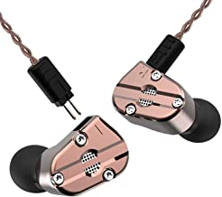 RevoNext QT5 in Ear Monitor, Noise-Isolating Dual Driver 1DD+1BA Balanced Armature with Dynamic Solid Metal Shell Deep Bass Wired Earbuds with Detachable Cables(coppery)