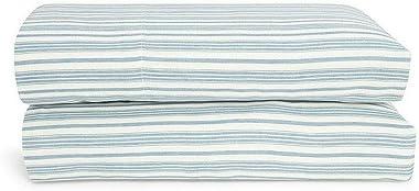 Ralph Lauren Islesboro McKensie Stripe Extra Deep King Flat Sheet Blue/Cream