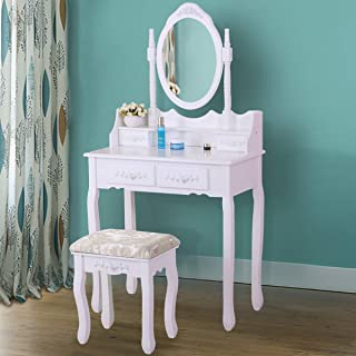 JAXSUNNY Vanity Table Set 4 Drawers with Mirror Dressing Table with Cushioned Stool Ancient Style,White