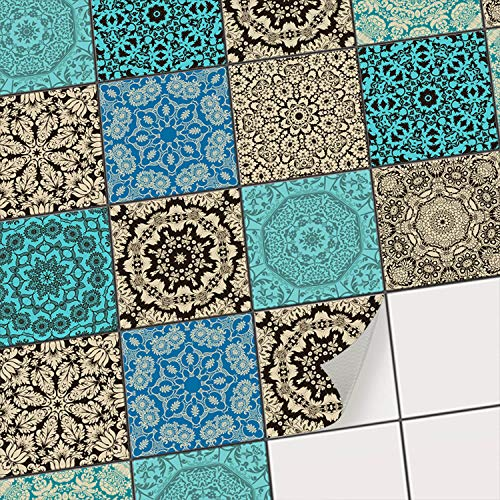 Fliesen Deko Fliesenaufkleber für Küche u. Bad I Fliesenfolie Fliesensticker Klebefliesen Mosaikfliesen Dekorfolie I 10x10 cm - Motiv Marokkanisch - 9 Stück