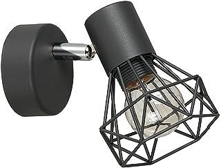 MiniSun - Precioso aplique de pared 'Gabbia' vintage - lámpara con pantalla de jaula gris