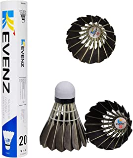 KEVENZ 12-Pack Goose Feather Badminton Shuttlecocks with Great Stability and Durability, High Speed Badminton Birdies Balls (Black)