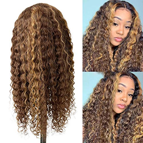 Highlight Lace Front Human Hair Wig 4/27 Blonde to Brown Brazilian Remy Hair Long 24Inch Curly Hair 13x4x1 Lace Front Wig Pre Plucked with Baby Hair for Women 150% Density Water Wave Ombre Wigs