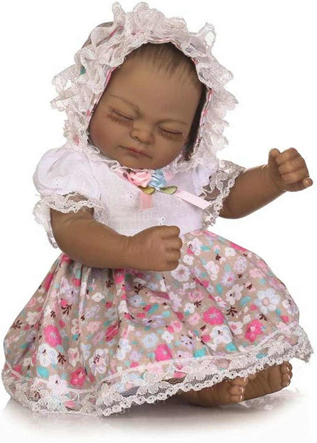 Reborn Baby Dolls, sweet small 12inch 25cm soft silicone vinyl real soft gentle touch black cute dolls for kids Birthday Gifts,girl