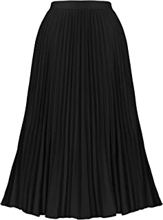 Women's Casual High Waist Pleated A-Line Swing Skirt Elastic Midi Skirt