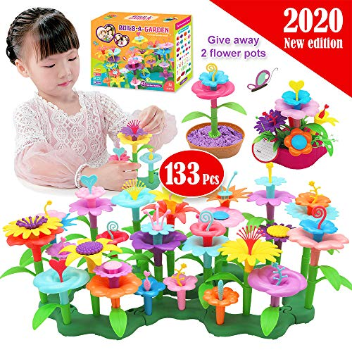 133 Pcs Kids Flower Garden Toys for Children Building Set Outdoor Activities Construction Toys for 2 3 4 5 6 Year Old Girls Gifts Toddler Building Toys Floral Pretend Playset?42 New Petal Shapes?