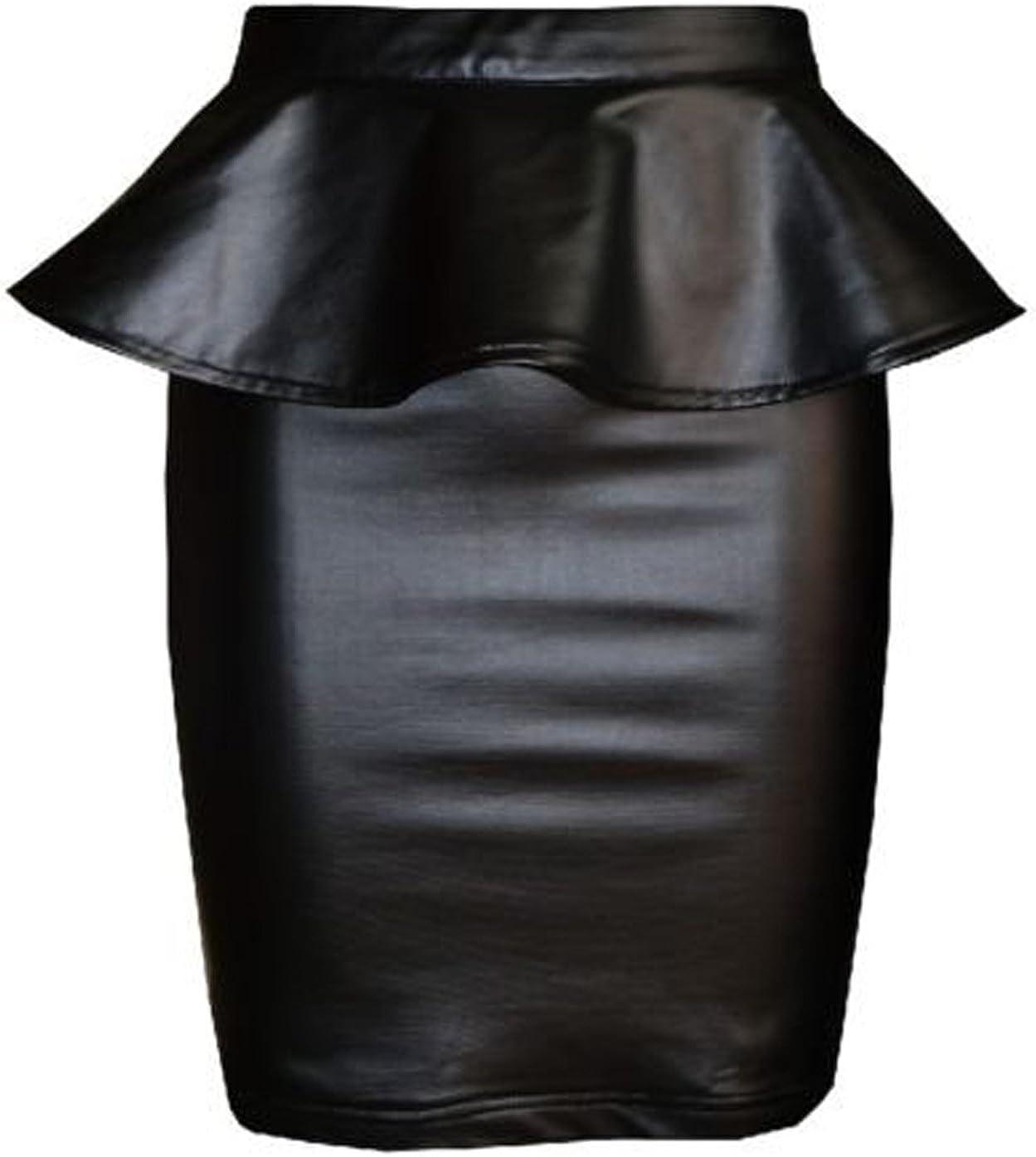 FashionMark Womens Plus Size Wet Look Peplum Pencil Skirt Ladies Celebrity PVC Leather Skirt - Black - Sizes 6-20