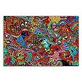 NRRTBWDHL Gerahmte Geschenk Schwarzlicht Gemälde Psychedelische abstrakte Malerei Poster Drucke Leinwand Wandbild-50X70Cm Massivholz Innenrahmen