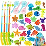 Magnetic Fishing Toy,60 Pcs Fishing Magnets Game with 4 Fishing Poles 4 Fishing Nets and 52 Floating Ocean Sea Animals,Toddler Bath Toys, Water Toys Fishing Game for Kids