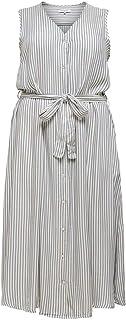 ONLY Carmakoma Carisa Stripe DNM SL Calf Dress Abito Donna
