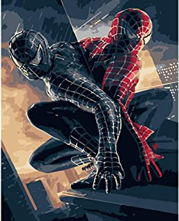 zykcmy Spiderman Diy Oil Painting By Numbers On Canvas Diy Digital Wall Movie Picture For Living Room Home Decor,40x50cm