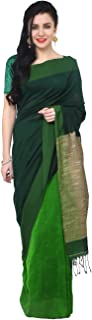 THE WEAVE TRAVELLER Handloom Cotton Ghicha Saree With Attached Blouse For Women