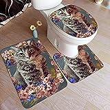WEURIGEF Badteppich-Sets 3-teilig Bowser Flower Cat Garland Badteppich-Sets Teppiche für Bad Waschbar U-förmige Kontur Teppichmatte und Deckelbezug