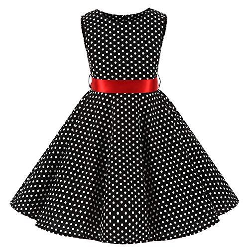 SXSHUN Mädchen Retro Vintage Rockabilly Kleid Partykleider Cocktailkleider Im 50er-Jahre-Stil, Schwarz + Weiß Punkt, 116 (Etikettengröße:120)
