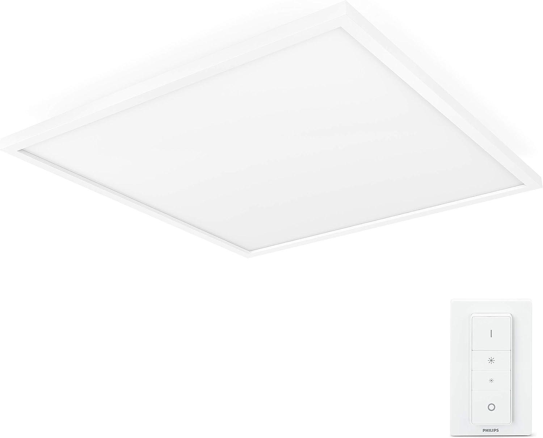 Philips Hue Weiß Ambiance LED Panelleuchte Aurelle, inkl. Dimmschalter, dimmbar, steuerbar via App, kompatibel mit Amazon Alexa, wei[Energieklasse A++]