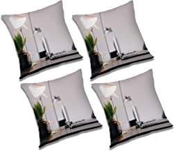 RADANYA Study Table 3D Printed Polyester Cushion Cover Set of 4 Pcs - 12x12 Inch, Ivory