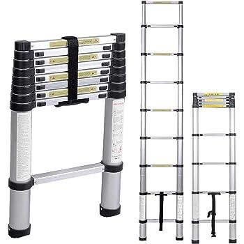 sogesfurniture 2.6M Escalera Telescópica de Aluminio, Escalera Plegable - Multi-propósito Extensible Escalera con 8 Escalones Antideslizantes, Capacidad de 100kg, BHEU-KS-MS-002: Amazon.es: Bricolaje y herramientas