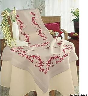 Vervaco Tischläufer Bordeaux geometrisch Stickpackung/Läufer im vorgedruckten/vorgezeichneten Kreuzstich, Baumwolle, Mehrfarbig, 40 x 100 x 0.3 cm