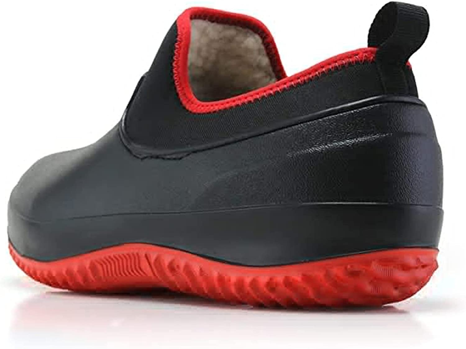 MTDBAOD Non-Slip Chef Shoes, Winter Fur Lined Warm Shoes,Men Women Waterproof Work Clogs Oil Resistant Safety Chef Shoes Garden Shoes (42,Black)