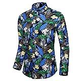 Hombre imprimió Camisas Hawaianas de Manga Corta Botón Casual Abajo Camisetas de Manga Larga Camisas de algodón de la Playa Delgada Camisa de la impresión del Modelo de la moda-C123_4XL