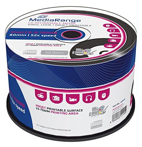 MediaRange MR226 CD-R 700MB (80min. Vinyl-Optik, 52x Speed, bedruckbar, 50 Stück)